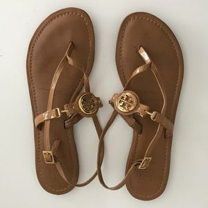 Tory Burch Tan Patent Leather Ali Sandals